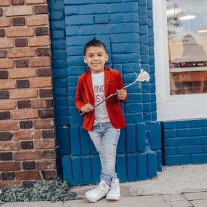 Boys Red Velvet Blazer